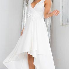 Elegant Deep V-neck Sleeveless Asymmetric Engagement Party Maxi Dress ($9.99) ❤ liked on Polyvore featuring dresses, gowns, v-neck maxi dresses, sleeveless maxi dress, maxi dress, deep v neck gown and summer maxi dresses