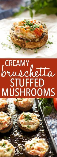 These Creamy Bruschetta Stuffed Mushrooms are the perfect easy appetizer packed with fresh tomatoes and herbs, and 3 delicious cheeses! Recipe by thebusybaker.ca! via @busybakerblog