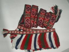 Ornated band and band with fringes are made for ethnographic shawl from Zemgale region in Latvia. Tablet woven by Dina Treide