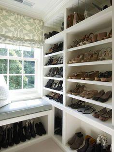 Brooks & Falotico - closets - walk in closet, closet window seat, closet bench, barbara barry fabric