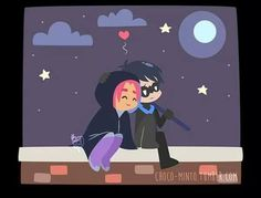 Nightwing and Starfire Robin Starfire, Nightwing And Starfire, C Cassandra, Sarah's Scribbles, Star Family, Young Avengers, Teen Titans Go, Comic Movies, Stars At Night