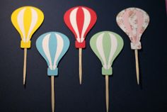 Hot Air Balloon Cupcake Toppers  Set of 12 by HandmadeBySaewon, $12.00