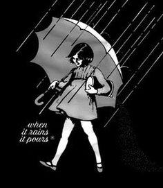 """Morton Salt girl. """"When it rains it pours"""""""