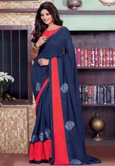 Looking for latest designer party wear sarees or traditional party wear sarees? Shop online from the party saree collection at Utsav Fashion for fancy party sarees. Party Wear Sarees Online, Party Sarees, Lehenga Saree, Georgette Sarees, Women Lifestyle, Lifestyle Fashion, Indian Fashion, Womens Fashion, Soft Silk Sarees
