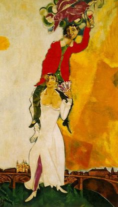 """'Double Portrait with a Glass of Wine' by Marc Chagall - Cubist, Symbolist, Fauve and Surrealist. """"When Matisse dies,"""" Pablo Picasso remarked in the """"Chagall will be the only painter left who understands what colour really is"""". Marc Chagall, Artist Chagall, Chagall Paintings, Russian Avant Garde, Kunst Online, Jewish Art, French Artists, Pablo Picasso, Matisse"""