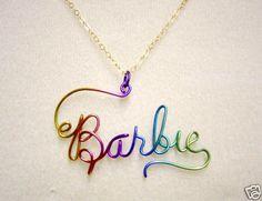 Personalized Name Jewelry Charm Necklace Niobium Wire