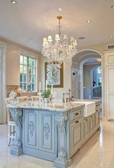loving all of the detail on this amazing kitchen island - French Kitchen Design Ideas
