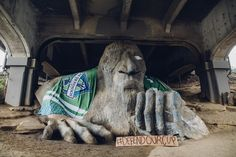 Everyone - and everything - is getting hyped for tomorrow. Seattle Sounders, Lion Sculpture, Statue, Sculptures, Sculpture