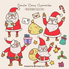 Collection of happy santa claus with sacks and letters Free Vector