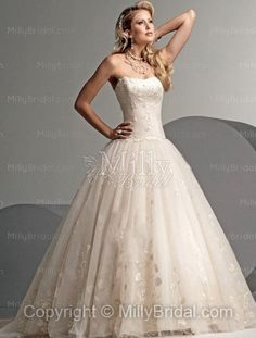 Ball Gown Strapless Embroidery Tulle Chapel Train Wedding Dress at Millybridal.com