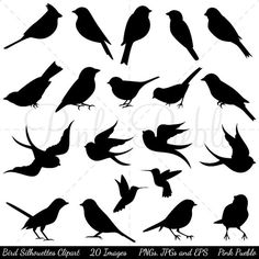 The Bird Silhouettes Clipart set comes with 20 PNG files with transparent backgrounds, 20 JPG files with white backgrounds and 1 Adobe Illustrator vector file. These silhouettes are extremely easy to recolor in your favorite image editing software. We are always BUY THREE GET ONE FREE!