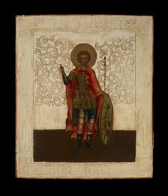 Icon painted in egg tempera on wood prepared with linen and gesso. Subject: a military saint. Images of saints along the edge of the frame and of Christ at top have been lost.
