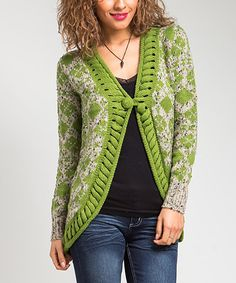 Look at this Green Cable-Knit Cardigan