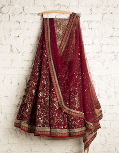 SwatiManish Lehengas | SMF LEH 105 17 | Royal maroon lehenga and dupatta with sequin and tread work blouse