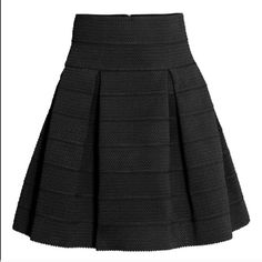 DAINTY HOOLIGAN black pleated skirt Black pleated skirt from Dainty Hooligan. A-line full, structured skirt. Textured fabric. Stretchy fabric. Gold zipper closure. NWT. Perfect for work or play. **not H&M. first photo is a photo of a similar skirt I got from H&M; the rest are of the actual product.** H&M Skirts A-Line or Full