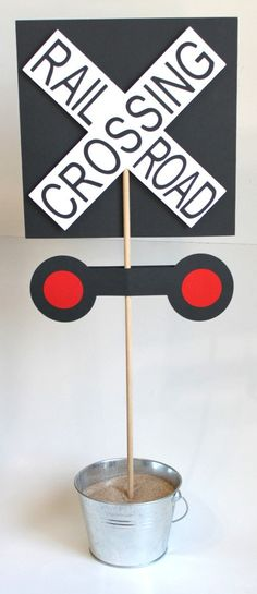 Make this 5 Yr Old Crossing? Train Birthday Party Railroad Crossing Sign by… Thomas Birthday Parties, Thomas The Train Birthday Party, Trains Birthday Party, Birthday Party Themes, 2nd Birthday, Birthday Ideas, Polar Express Party, Polar Express Christmas Party, Zug Party
