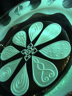 'petal plate' kilnformed & sandblasted glass by me.