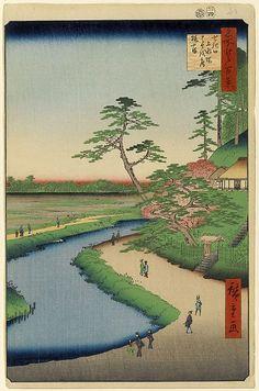 第40景 せき口上水端はせを庵椿やま 安政4年(1857)4月 改印  せきぐち じょうすいばた ばしょうあん つばきやま
