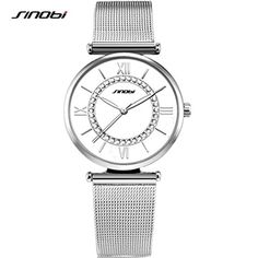 SINOBI Women Steel Mesh Watches Crystal Bracelet RomanNumeral Watches for Women reloj de pulsera Silver >>> To view further for this item, visit the image link.(This is an Amazon affiliate link)