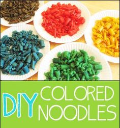 Colored noodles are great for a variety of projects. Use this recipe a day a head of time to have some brightly Colored noodles are great for craft colored noodles for your project. What's even better,buy your pasta in the bulk bin at your discount supermarket and you can get quite a bit for very … Colored Noodles, Pasta Art, Recipe Of The Day, Preschool Crafts, Grains, Rice, Craft Projects, Laughter, Brass