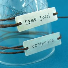 Doctor Who Time Lord & Companion Cotton Cord Bracelets. This is cute, but I think my boyfriend and I would fight over who gets to be the time lord. Time Lords, Cord Bracelets, Bracelet Set, Couple Bracelets, Friend Bracelets, Initial Bracelet, Dr Who, Crossover, Don't Blink