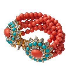 Kenneth Jay Lane multi coral rows beads turquoise/rhinestones cabochon bracelet #KennethJayLane #Bracelet