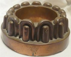 ANTIQUE COPPER JELLY MOULD with ROYAL CIPHER No 68