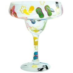 """2012 """"Giant Flip Flops""""  16 inches tall  Margarita recipe on bottom of glass. Designs By Lolita"""