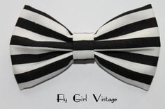 Vintage 1920's Coco Chanel Style Hair Bow Clip- Fabric Hair Bow-Mod-Rockabilly-1930's-Black-White-For Women, Teens, Girls -Punk-Psychobilly
