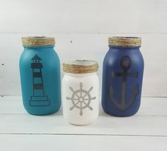 Nautical Mason Jars  Nautical Decor  Summer by ZAMHandmadeMarket