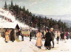 Gustav Wentzel detail from: Skirenn i fjelkenbakken, 1898 Lund, A4 Poster, Poster Prints, Ski Racing, Angels In Heaven, Victorian Christmas, Vintage Artwork, Photo Postcards, Old World