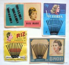 LOTE 4 CARTONES HORQUILLAS PARA EL PELO. VARIAS MARCAS. BELLEZA PARA LA MUJER. AÑOS 40-50 (Vintage - Moda - Complementos)
