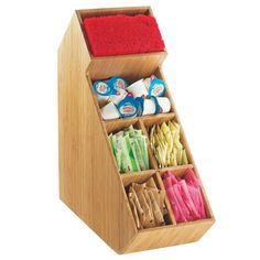 """Cal Mil 2052-60 Bamboo Stir Stick and Condiment Display with Removable Divider – 5 1/2"""" x 13 1/4"""" x 14 1/4"""""""