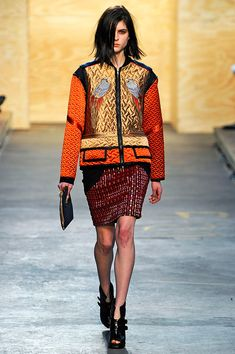 New York     Proenza Schouler duo Jack McCollough and Lazaro Hernandez have a cool (and collected) sense of oversize proportions, seen here in great clothes and accessories (deerskin clutches or handheld duffle bags) done with an incredible and intricate amount of handwork.