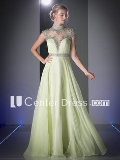 A-Line Maxi High Neck Cap-Sleeve Illusion Dress With Beading And Ruching
