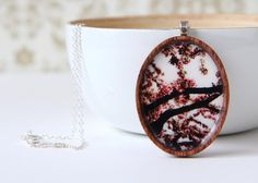 Cherry Blossom Wood Oval Photo Pendant With Sterling by EvesEye, $65.00