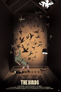 Alfred Hitchcock's The Birds movie poster by artist Adam Simpson, created for…