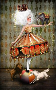 Surreal & Whimsical Circus Girl & Animals on Etsy.