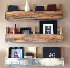 Pallet Shelves diy ideas. I love this but for a different reason.  I'm going to zig zag something like this for our new baby, Heaven Leigh Pollack., cat;-)