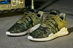 The latest colourway for the sharp-nosed adidas EQT Support ADV is equipped for woodland stealth with an all-camouflage upper.
