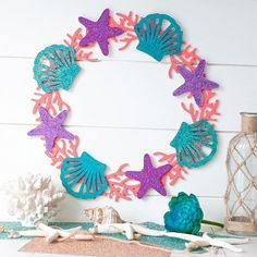 Time to get the Summer projects started with this mermaid craft! I created a mermaid inspired wreath perfect for any mermaid theme room or party! Mermaid Crafts, Mermaid Diy, Party Fiesta, Mermaid Theme Birthday, Glitter Crafts, Mermaid Coloring, Mermaid Parties, 1st Birthday Parties, Birthday Decorations