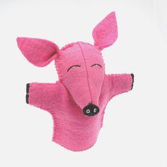 Felt pig hand puppet