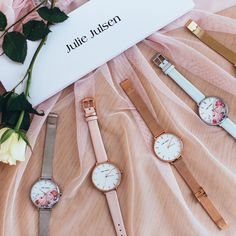 The Julie Julsen Watch Collection, have you seen all colors yet? Watches, All The Colors, Flower Designs, Collection, Accessories, Floral Clock, Heart Of Gold, Mother's Day, Clocks