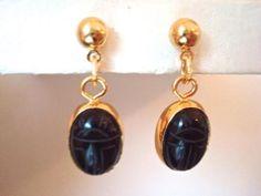 verkopers.marktplaats.nl/7443487 #ARTDECO 40's 60's #Scarabee #oorbellen zwart #onyx