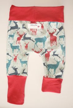 Deer Miniloones size 3-12 months, Maxaloones brand, deer in the woods cloth diaper pants with matching bum circle & red bands, grow with me by LilybugKids on Etsy