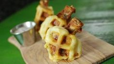 Dip fried chicken wings in waffle batter. Then, cook them in a waffle iron for a truly unforgettable game-day appetizer. Get the recipe at Tablespoon. Cheddar, Rainbow Waffles, Crispy Chicken Wings, Chicken And Waffles, Chicken Wing Recipes, Waffle Iron, Waffle Recipes, Appetizer Dips, Mozzarella