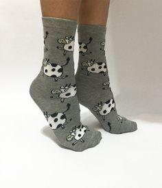 Cow Socks Gray Socks Animal Socks Fun Funny Socks by NiftySox