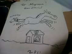 """Drawings by request - Daniel Jennewein's drawing of """"a horse jumping over a house with a mole hanging onto the horse's tail for its own dear life."""" SCBWI Library Day"""