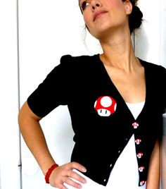 MARIO Cute Cardigan with Handmade Applique by FantastiquePlastique, $49.50
