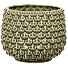 Seventies Sage Green Plant Pot : Our favourite little cabbage ! This seventies inspired ceramic flower pot featuring textured sage green leaves is ideal for potting small plants like succulents. It works with our woven macrame or Ferm Living plant stands.
